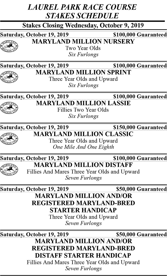 Maryland Million Stakes Schedule 2019 - 1