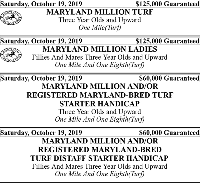 Maryland Million Stakes Schedule 2019 - 2