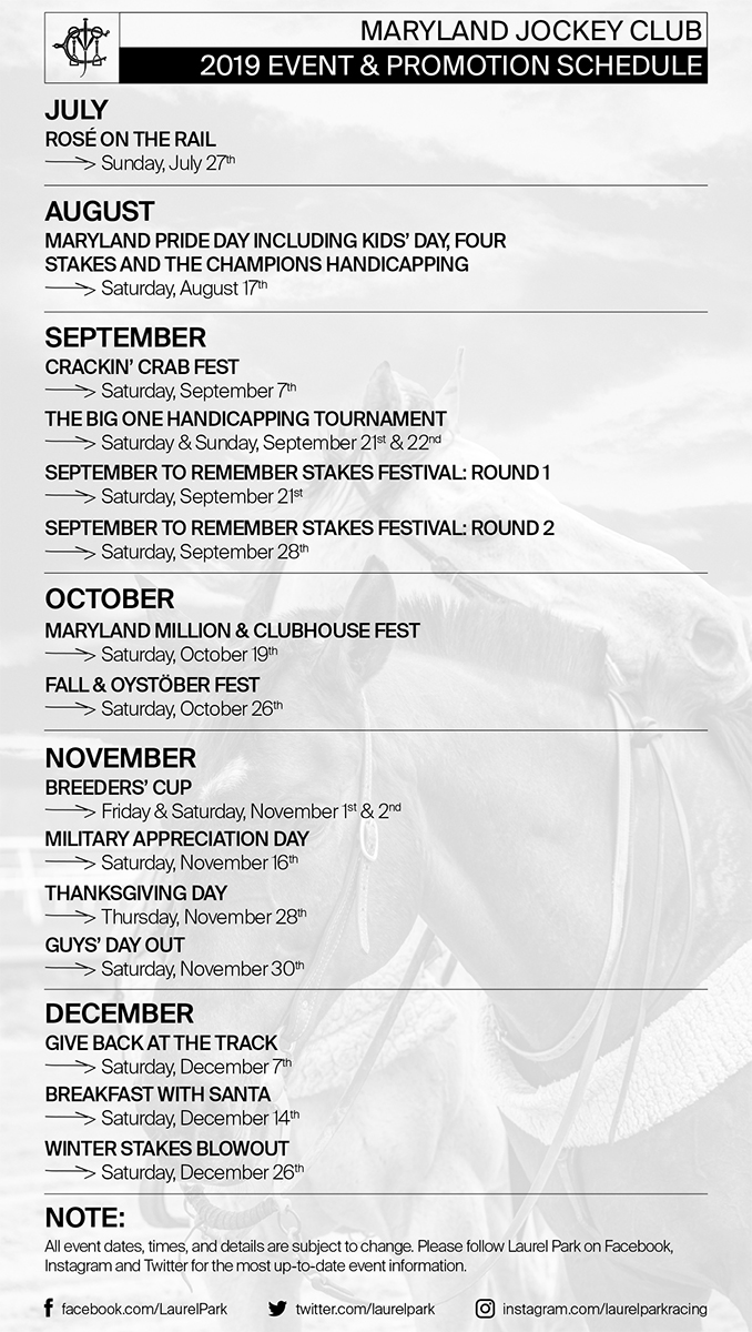 Event Schedule | Laurel Park