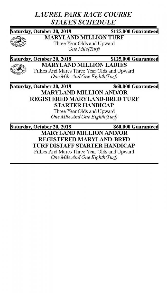 Maryland Million Stakes Schedule | Laurel Park