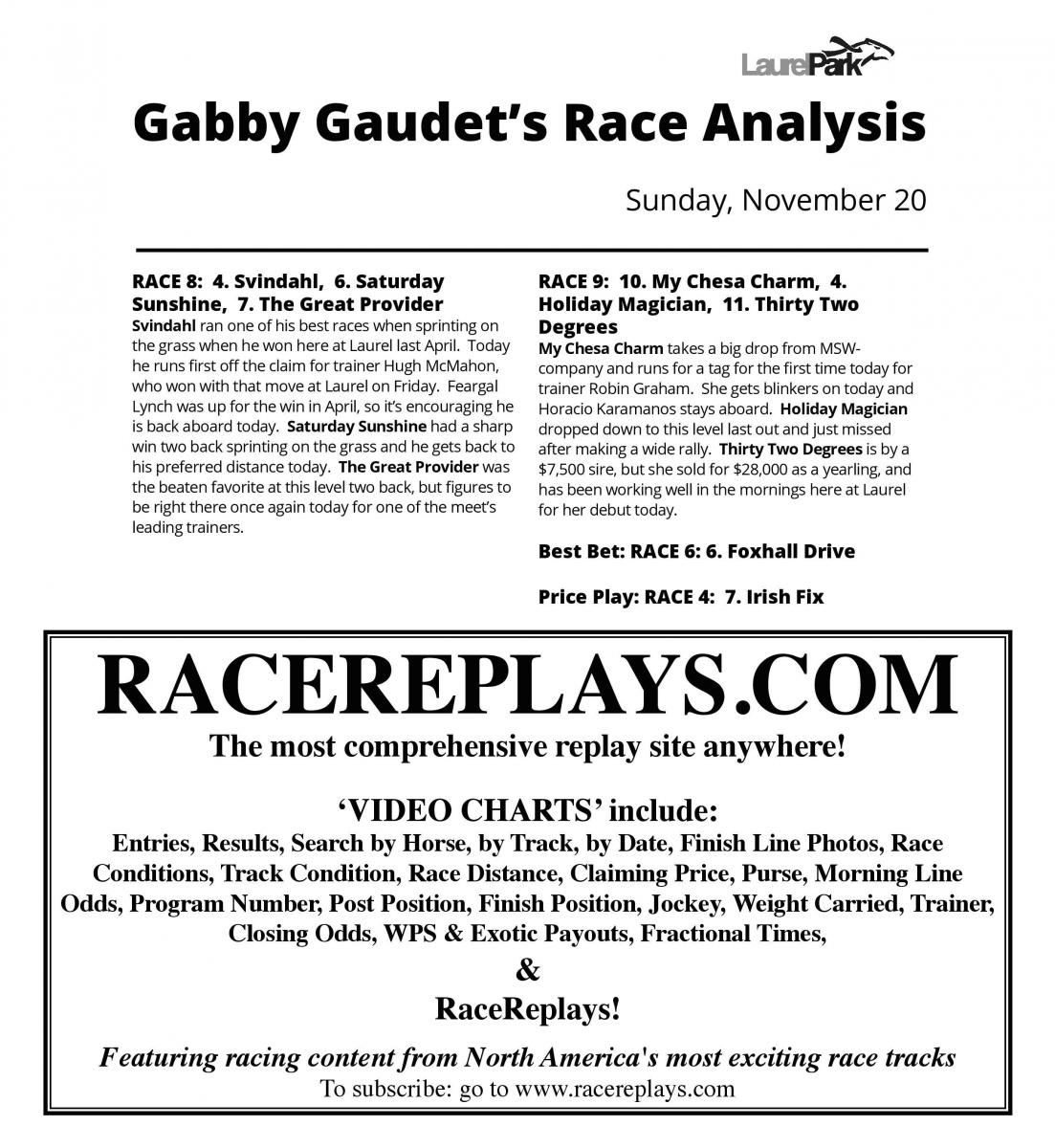 Gabby S Picks Laurel Park