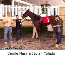 Trainer Jamie Ness and apprentice jockey Jevian Toledo
