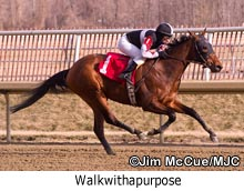 Walkwithapurpose wins the Caesar's Wish Stakes at Laurel Park